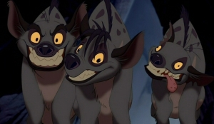 Actually, I feel this is an accurate representation of all our cats: Ty=Banzai, Allie=Shenzi, and Georgia=Ed...it's like that. (source thelionking.wikia.com)